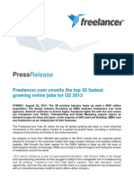 2013-08-22 Freelancer.com Unveils the Top 50 Fastest Growing Online Jobs for Q2 2013