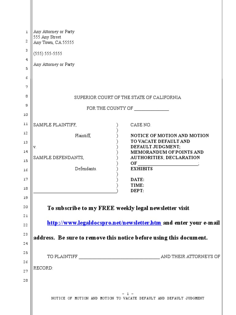 sample motion to vacate void judgment in california under code of civil procedure section 473d