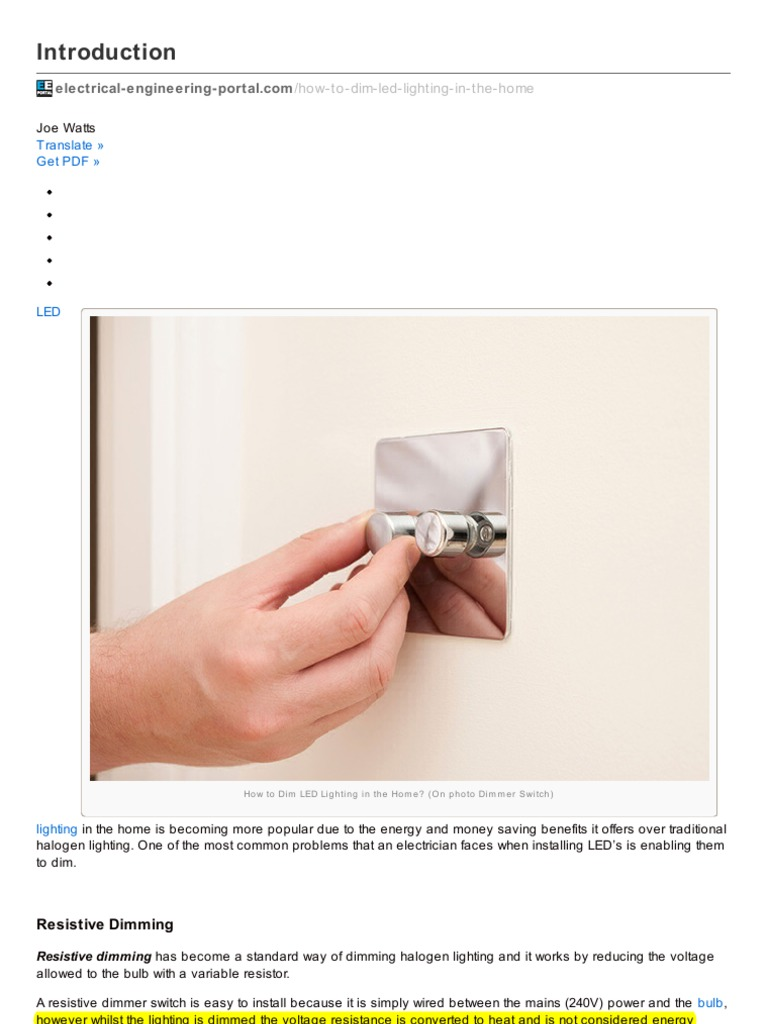 Resistive Dimmer Light Emitting Diode Lighting Wiring Led Lights In A Home