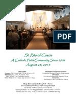 St. Rita Parish Bulletin 8/25/2013