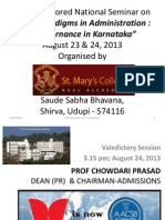 Valedictory address by Prof Chowdari Prasad at National Seminar E-Governance on 24th August at St Mary's College, Shirva in Udupi Dist. Karnataka, India