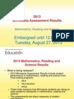 2013 MN Statewide Assmt Results Presentation