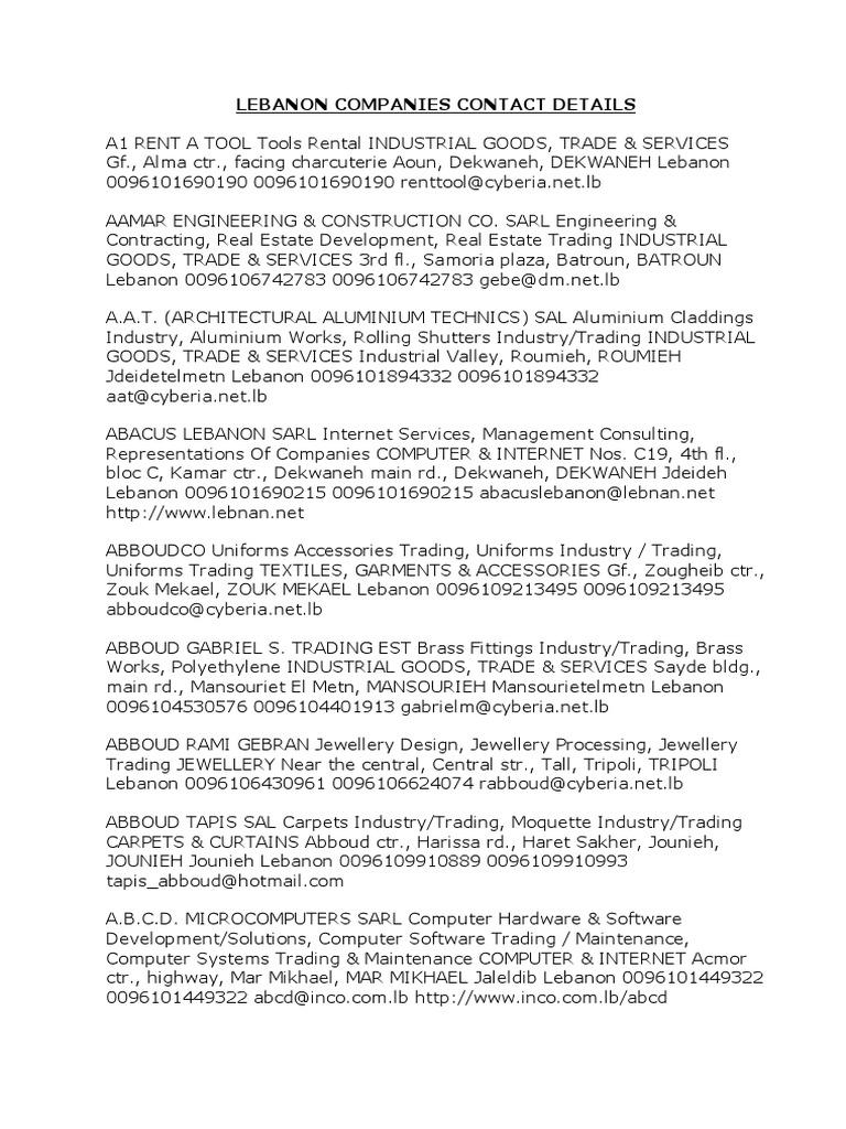 LEBANON companies contact details