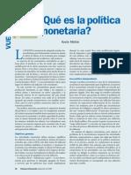 Qué es la política monetaria