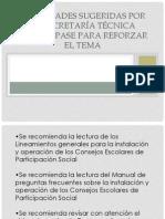 Actividades sugeridas por la Secretaría Técnica