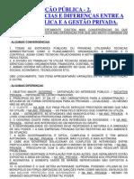 CONVERGÊNCIAS E DIFERENÇAS ENTRE A GESTÃO PÚBLICA E A GESTÃO PRIVADA.