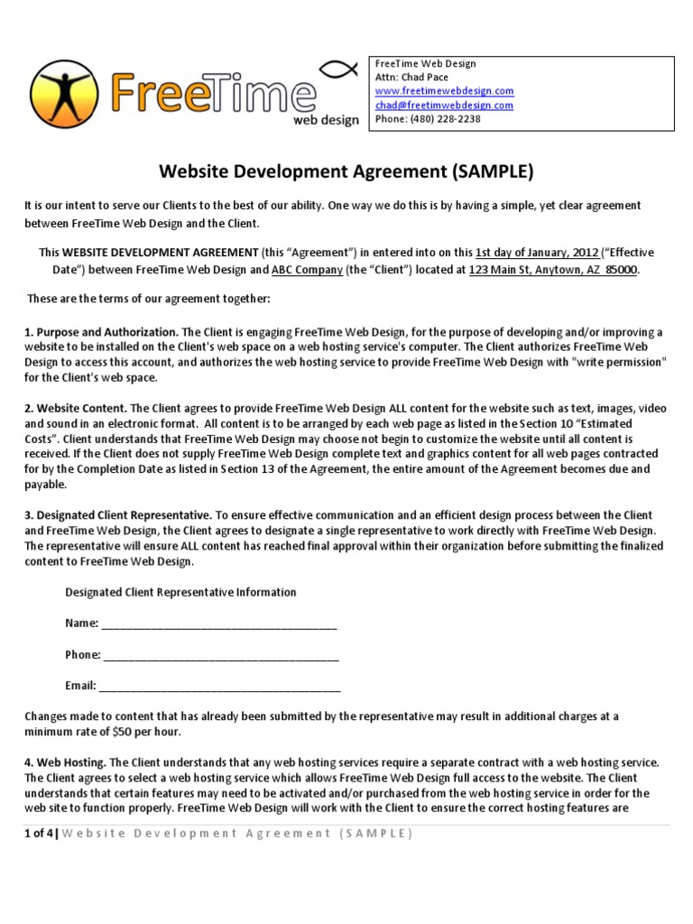 web design contract template free