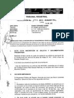 Formalidad para la inscripción de transferencia vehicular