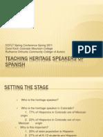 Teaching heritages peakers of spanish