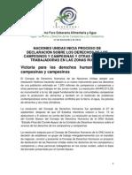 Declaración de los derechos de la población campesina