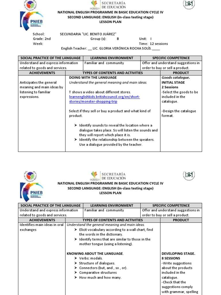 Lesson Plan 2nd Grade 2012 (1)   Lesson Plan   English Language