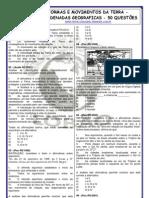 FORMAS E MOVIMENTOS DA TERRA - COORDENADAS GEOGRAFICAS - 50 QUESTÕES