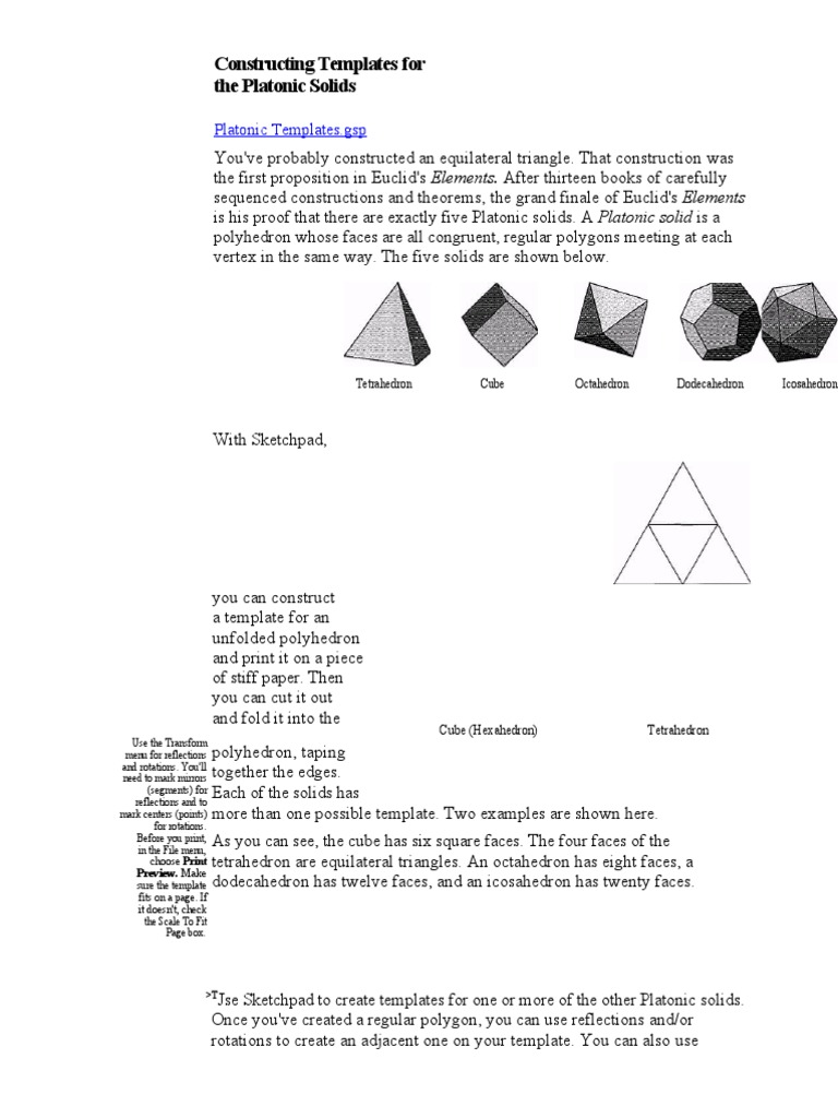 Constructing Templates for the Platonic Solids | Geometric Objects ...