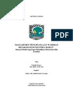 Manajemen Pengelolaan Warisan Sejarah Di Sumatera Barat-mencari Model Yang Dapat Memelihara Pelestarian Nilai Keaslian-2009-Art
