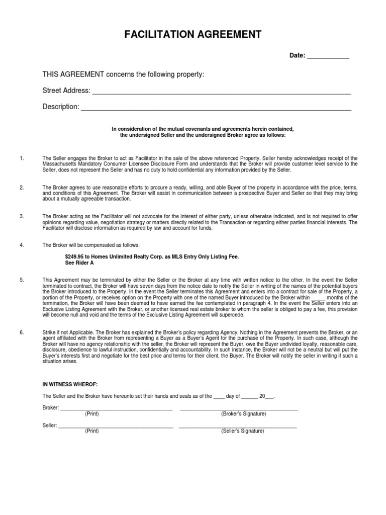 Facilitation Agreement Real Estate Broker Law Of Agency