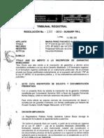 Título que da mérito a la inscripción de garantías mobiliarias