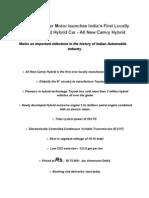 Toyota Camry Hybrid Press Release