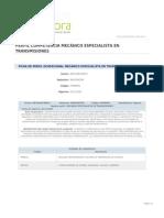 Perfil Competencia Mecanico Especialista en Transmisiones