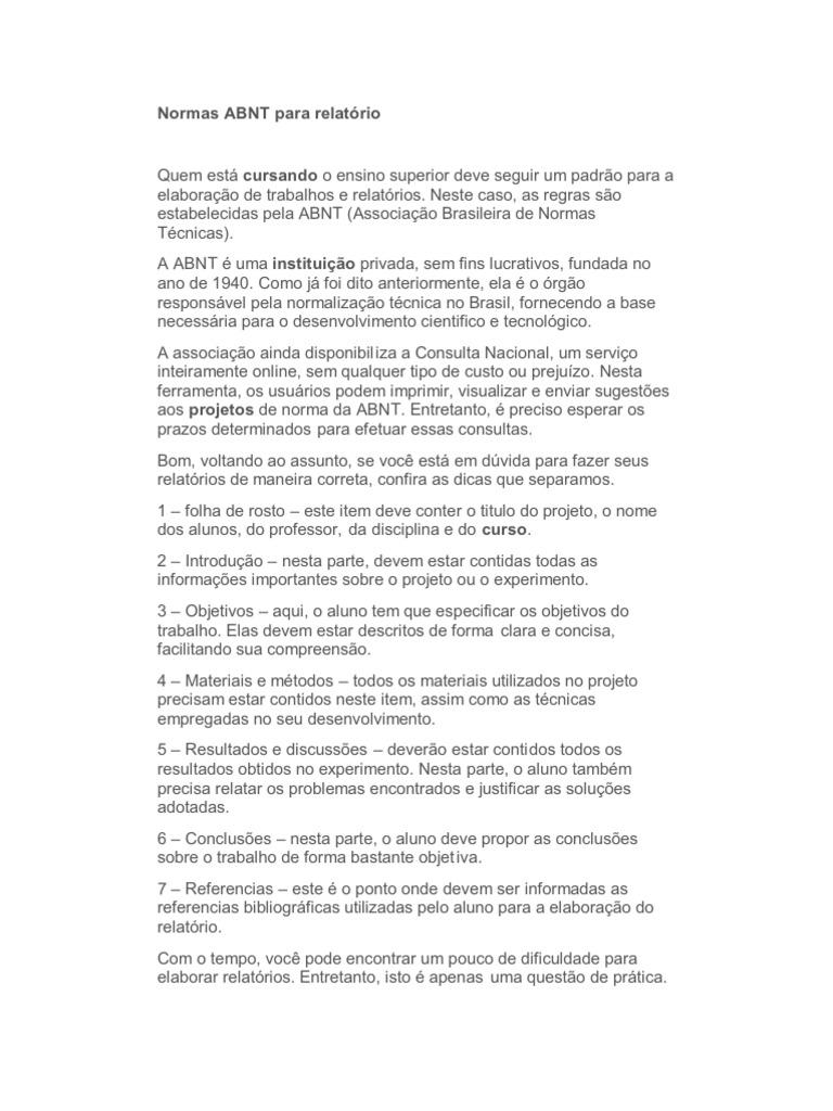 Modelo De Relatorio De Visita Tecnica Abnt Associa O Brasileira