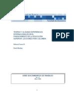 Teorias y Experiencias Financiamiento de La Educacion Superior