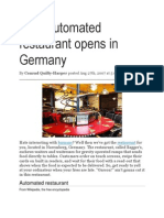 Fully Automated Restaurant Opens in Germany