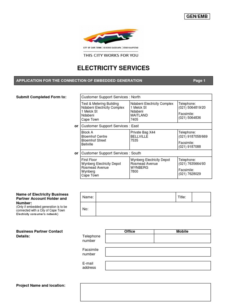 Application Form Embedded Generation Gen Emb 20120302 Relay Current International Electrotechnical Commission
