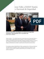 27-08-2013 Diario Matutino Cambio de Puebla - Asiste Moreno Valle a XXXIV Sesión del Consejo Nacional de Seguridad Pública