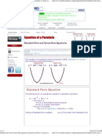 Standard and Vertex Form of the Equation of Parabola and How It Relates to a Parabola's Graph