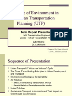 Role of Environment in Urban Transportation Planning