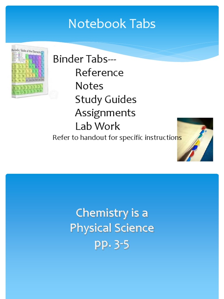Notebook Tabs: Binder Tabs---Reference Notes Study Guides