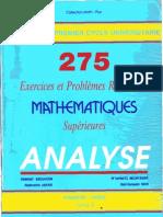 275 Exercices Et Problèmes Résolus De Mathematiques Superieures Analyse