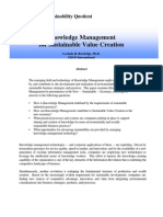 Knowledge Management for Sustainable Value Creation