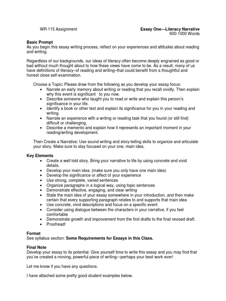 Wr  Essay  Prompt And Student Examples  Essays  Narrative  Essay Paper Writing Services also Letter Writing Help Online  Sample Essay Proposal