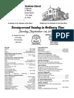 Parish Bulletin for September  1, 2013