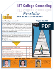 NIST College Counseling Newsletter for Year 12 Students August 29, 2013