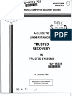 NCSC-TG-022 a Guide to Trusted Recovery in Trusted Systems