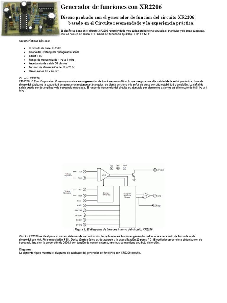 Circuito Xr2206 : Generador de funciones con xr
