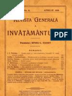 Revista Generală a Învăţământului, Anul XVII (1929), Nr.4