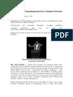 Full transcript of Ahmadinejad Speech at Columbia University.doc