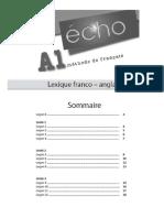 Écho_Methode de francais_A1_Lexique