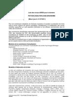 AERES Liste Revues Psychologie Juillet 2011