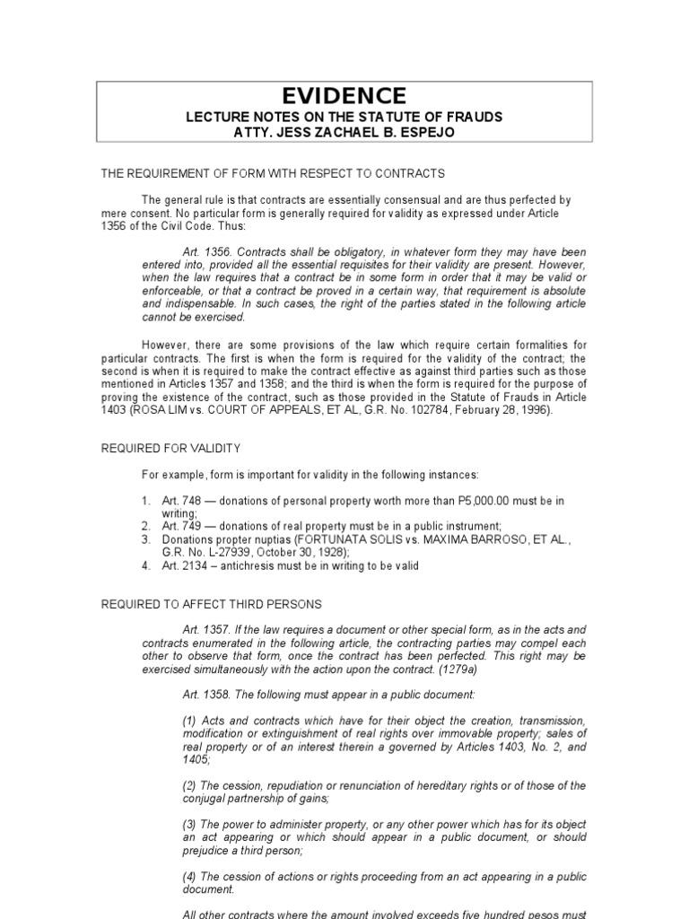 03 Evidence Rule 130 Statute Of Frauds Annulment Parol