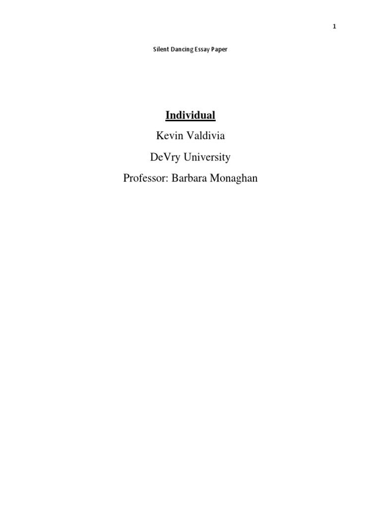 Silent Dancing Essay Paper Individualdocx  Mind  Essays  Thesis Generator For Essay also Business Management Essays  Health Care Essay Topics
