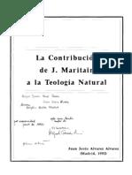 Alvarez Alvarez Juan Jesus - La Contribucion de J Maritain a La Teologia Natural