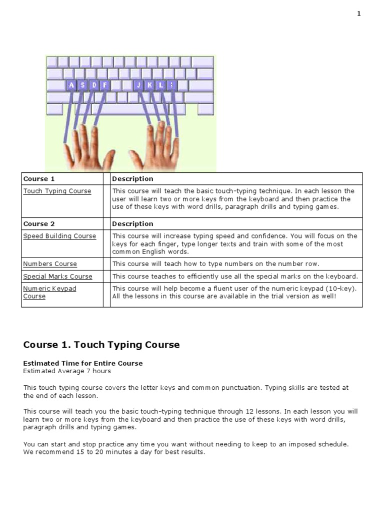 Touch Typing Course 1 2 Outlines | Linguistics | Writing Implements
