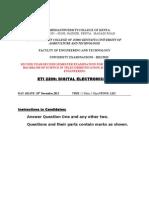 Digital Electronics Exam 2012