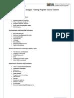 Business Analysis Training Program Course Content