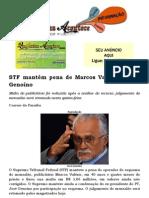 STF mantém pena de Marcos Valério e José Genoíno
