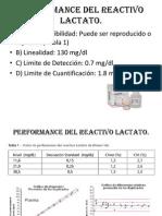 Performance Del Reactivo Lactato