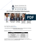 Korean Americans for Political Advancement Endorses John Liu, Letitia James, Scott Stringer, Austin Shafran and Rory Lancman